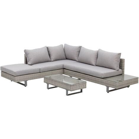 Outsunny Conjunto de Muebles Set de Sofás Ratán 3 Piezas Cojines Extraíbles Acero Gris - Gris