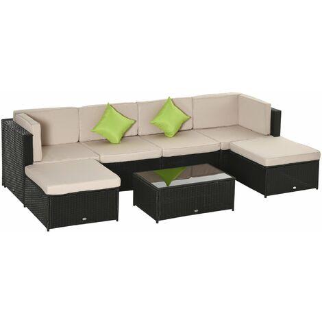 Outsunny Conjunto Muebles de Jardín de Ratán 7 Piezas Mesa Sofás Taburetes con Cojines - negro, caqui y verde