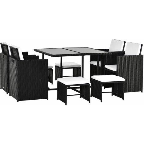 Outsunny Conjunto Muebles de Jardín Ratán 9 Piezas con Cojín para Terraza Exterior NUEVO - Negro y Blanco