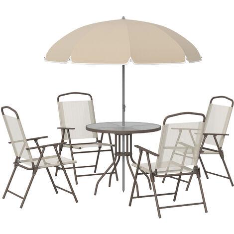 Outsunny Conjunto Muebles Jardin 4 Sillas Mesa de Comedor Redonda Sombrilla Parasol - beige