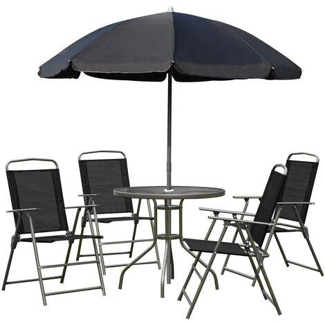 Outsunny Conjunto Muebles Jardin 4 Sillas Mesa de Comedor Redonda Sombrilla Parasol - negro