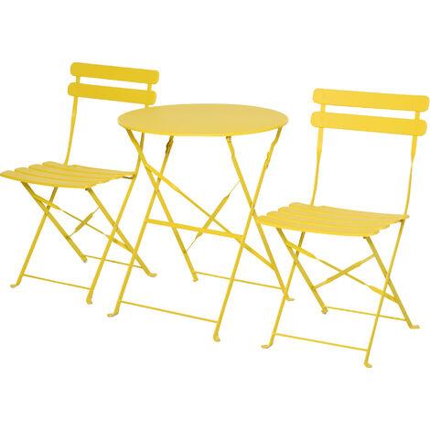 Outsunny Conjunto Muebles Plegables de Jardín Mesa y 2 Sillas de Metal Ø60x71 cm Amarillo - Amarillo