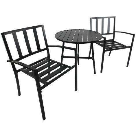 Outsunny Conjuntos de Mesa y 2 Sillas de Jardín Muebles Comedor Exterior Bistro Café Set - Negro
