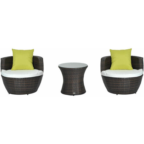 """main image of """"Outsunny Conservatory Patio Rattan Furniture Vase Chair Set Stackable"""""""