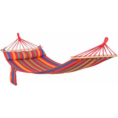 Outsunny Cotton Hammock Soft Portable Swing Chair w/ Headrest & Side Pocket