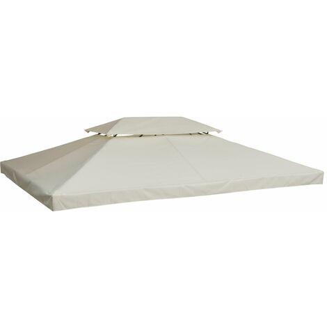 Outsunny Cubierta Superior para Toldo de Repuesto Transpirable con 8 Agujeros 3x4m Color Crema