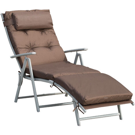 Outsunny Cushioned Folding Sun Lounger Adjustable Back Steel Frame Pillow Brown