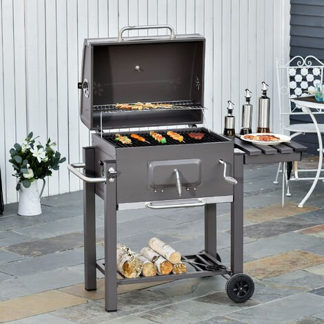 """main image of """"Outsunny Deluxe Steel BBQ Smoker w/ Adjustable Furnace Thermometer Wheels Bottle Opener"""""""