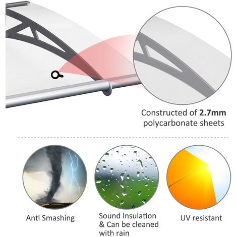 Outsunny Door Awning Polycarbonate Sheet Patio Porch Window Cover Bracket - 120cm x 90cm