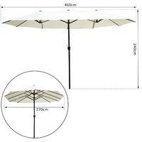 Outsunny® Doppel Sonnenschirm 460x270cm Creme