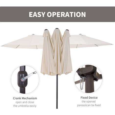 Outsunny Double Canopy Sun Umbrella Parasol Crank Open Outdoor Patio Shade 4.6M Cream White