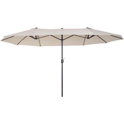 Outsunny Double Canopy Sun Umbrella Parasol Crank Open Outdoor Patio Shade 4.6M Cream White