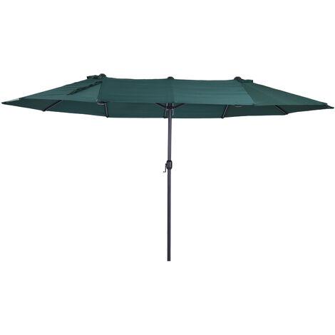 Outsunny Double Canopy Sun Umbrella Parasol Crank Open Outdoor Patio Shade 4.6M Green