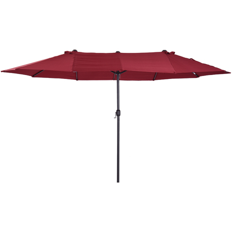Outsunny Double Canopy Sun Umbrella Parasol Crank Open Outdoor Patio Shade 4.6M Wine Red