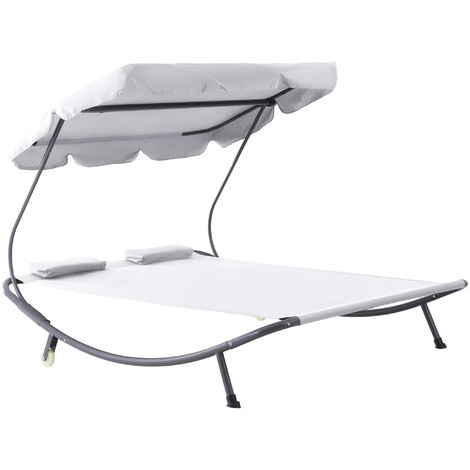 Outsunny Double Hammock Sun Lounger Bed Canopy Shelter Wheels 2 Pillows Cream White