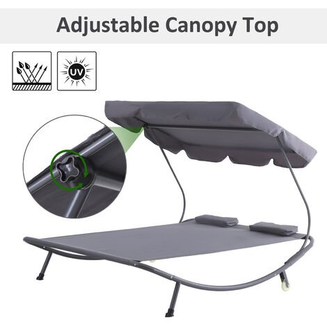 Outsunny Double Hammock Sun Lounger Bed Patio Canopy Shelter Wheels 2 Pillows Garden Grey