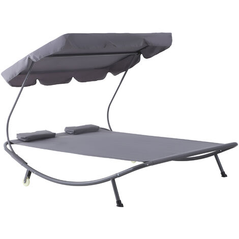 Outsunny Double Hammock Sun Lounger Bed Patio Canopy