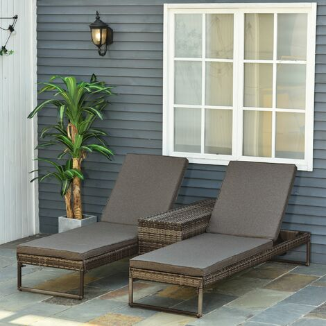 Outsunny Double Lounger Table Set All-In-One Rattan Wicker Adjustable Black Grey