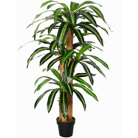 "main image of ""Outsunny Dracaena Artificial con Maceta Planta Decorativa de 66 Hojas Ø20x160 cm Verde - Verde"""