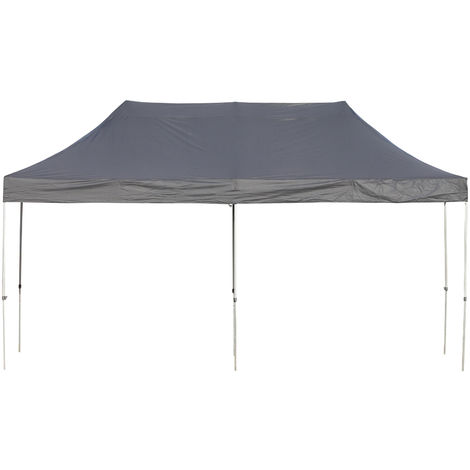 Outsunny Easy Folding Gazebo w/ Steel Legs Canopy Weather-Resistant 3x5.9m Black