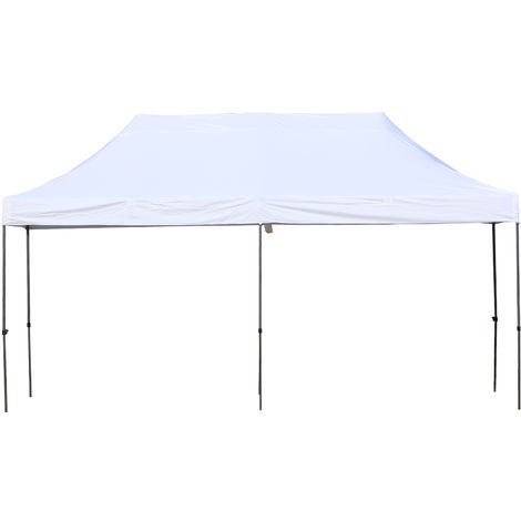 Outsunny Easy Folding Gazebo w/ Steel Legs Canopy Weather-Resistant 3x5.9m White