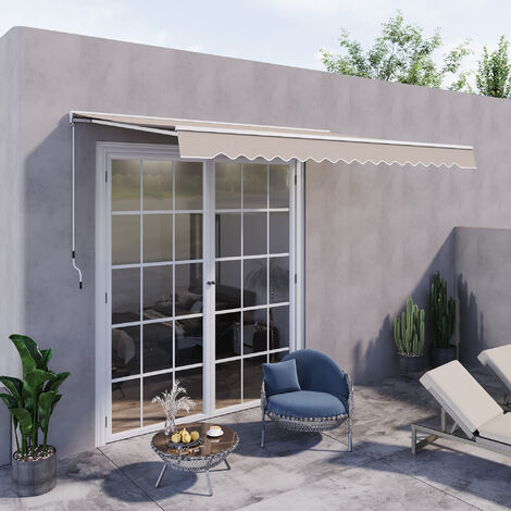 Outsunny Electrical Door Awning Retractable Canopy w/ Remote Controller