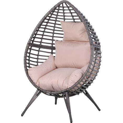 "main image of ""Outsunny Elegant Teardrop Garden Chair PE Rattan w/ Cushion 4 Legs Steel Frame"""