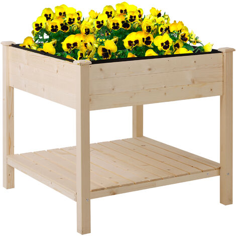 """main image of """"Outsunny Elevated Garden Planting Table Box Stand Outdoor Indoor Flower w/ Shelf"""""""