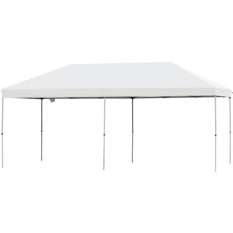 Outsunny® Faltpavillon Festzelt Partyzelt Wasserfestes Gartenzelt Sonnenschutz Stahl Weiß