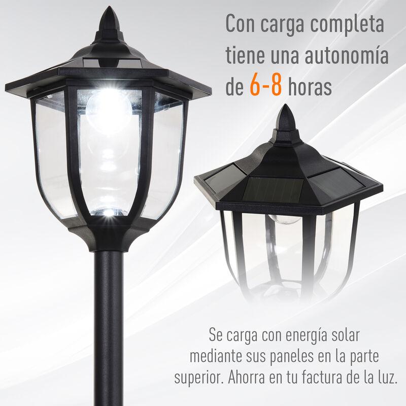 Outsunny Farol Solar de Jard/ín IP44 L/ámpara de Pie con Luces Inteligentes LED para Exteriores Patio Terraza 15x15x120 cm Negro