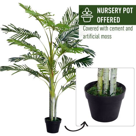 Outsunny Faux Palm Tree Artificial Indoor Plant Tropical Potted Home Office Outdoors 150cm