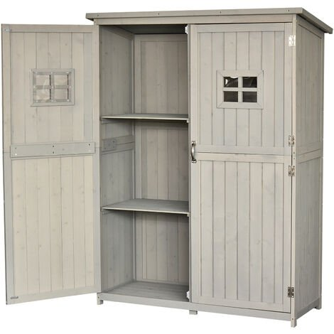 """main image of """"Outsunny Fir Wood Garden Shed Outdoor Storage Unit w/ Shelves Windows Light Grey"""""""