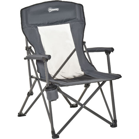 """main image of """"Outsunny Folding Camping Chair High Back Camping Fishing Chair w/ Cup Holder"""""""
