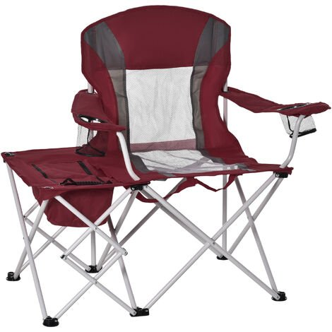 """main image of """"Outsunny Folding Camping Chair w/ Insulation Bag Cup Holder Side Table Red"""""""