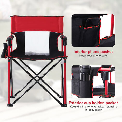 Outsunny Folding Camping Chair w/ Metal Frame Cup Holder Phone Pocket Mesh Back Blue