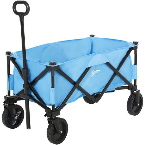 Outsunny Folding Outdoor Storage Trolley Cart Bag Telescopic Handle Brakes Blue