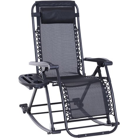 Outsunny Folding Recliner Chair Outdoor Lounge Rocker Zero-Gravity Seat Black