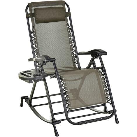 Outsunny Folding Recliner Chair Outdoor Lounge Rocker Zero-Gravity Seat Grey