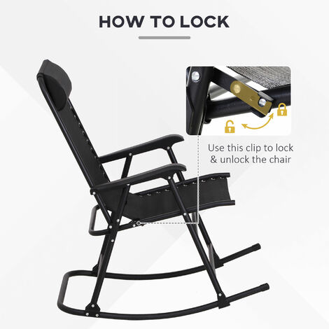 Outsunny Folding Rocking Chair Zero Gravity Outdoor w/ Headrest Garden Patio