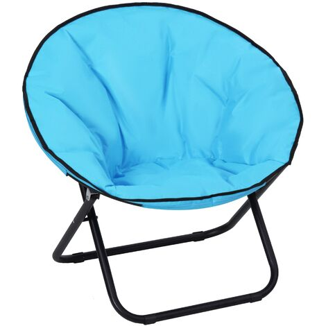 Outsunny Folding Round Moon Chair Oversized Padded Seat