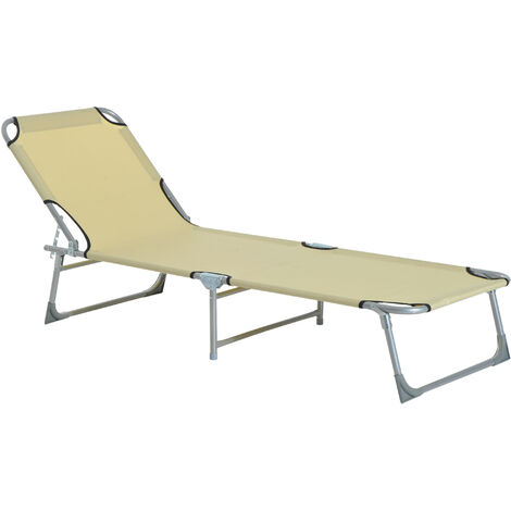 Outsunny Folding Sun lounger Camping Reclining Chair