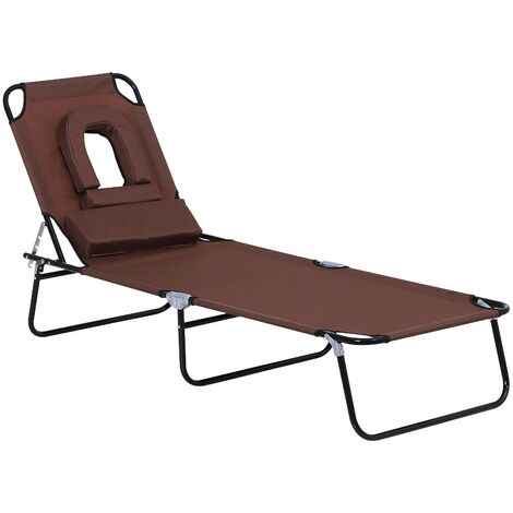 Outsunny Folding Sun Lounger Reclining Chair w/ Pillow Reading Hole Garden Adjustable
