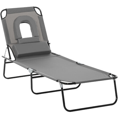 Outsunny Folding Sun Lounger Reclining Chair w/ Pillow Reading Hole Garden Beach