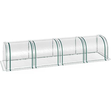 Outsunny® Foliengewächshaus Treibhaus Folientunnel Frühbeet 4 Türen PVC + Stahl Transparent 400 x 100 x 80 cm
