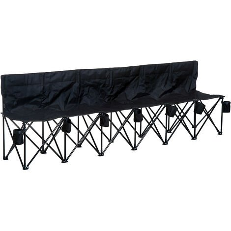 Outsunny Football 6 Seater Folding Bench Camping Portable Spectator Chair