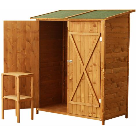 Outsunny Gabinete Caseta Herramientas Jardin 165x140x75 cm Cobertizo Madera Maciza 2 Puertas