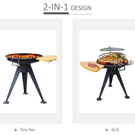 Outsunny Garden Barbecue Double Grill Patio Firepit Outdoor Party Charcoal BBQ Cooking Wood Burning Brazier Stove Heater Height Adjustable w/ Cutting Board