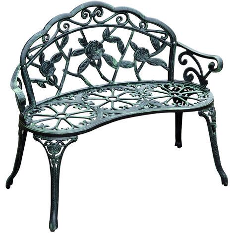 Outsunny Garden Cast Aluminum Bench Porch Park Chair Antique Rose Style