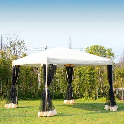 Outsunny Garden Gazebo Pop-Up Party Tent Canopy Marquee w/Mesh Sidewalls + Storage Bag
