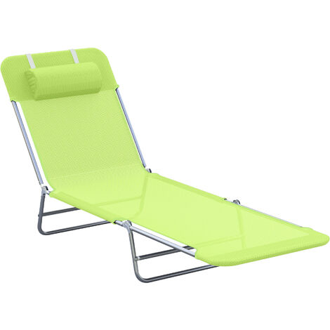 Outsunny Garden Lounger Recliner Adjustable Sun Bed Chair - Light Green